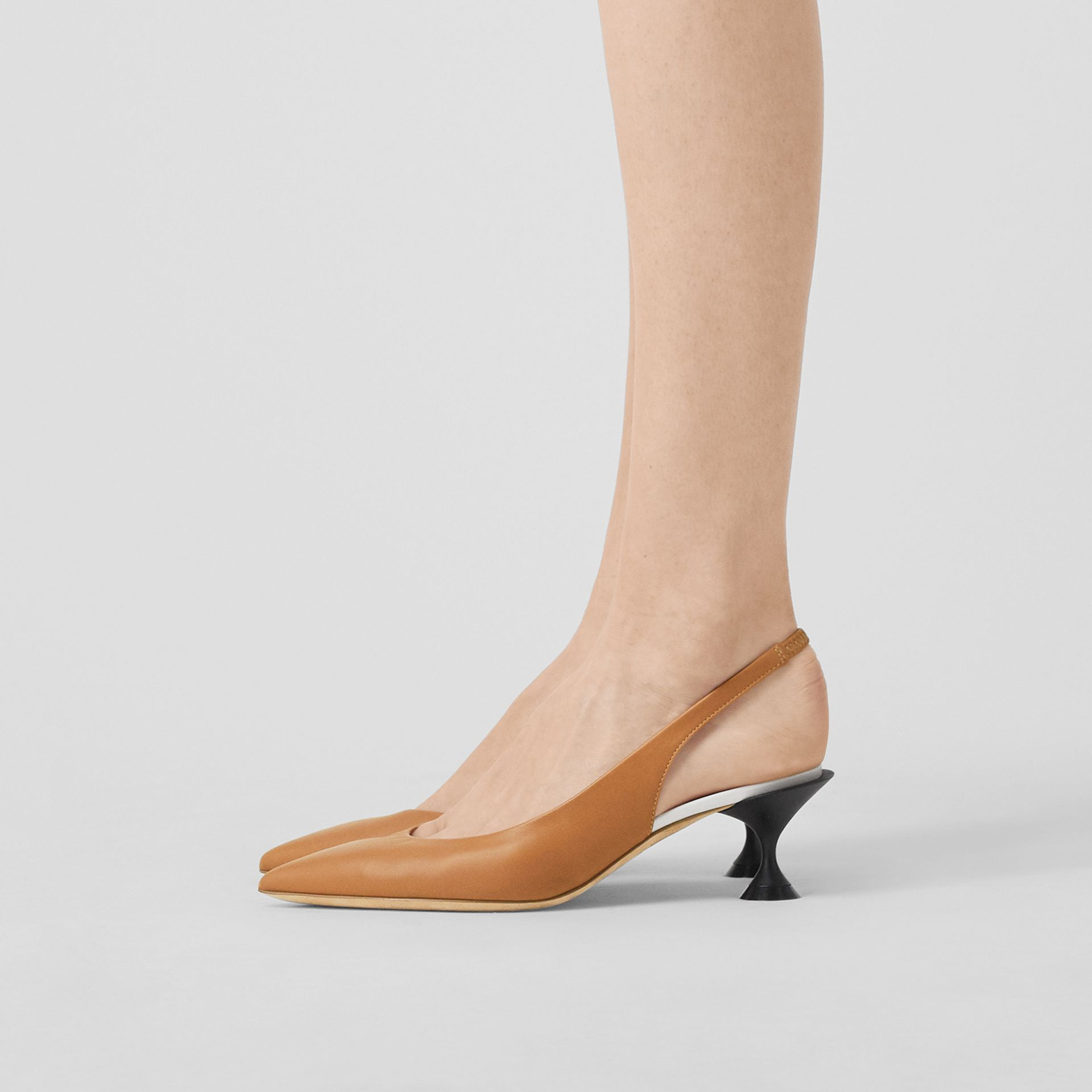 Leather Slingback Pumps in Camel - Women | Burberry - gallery image 2