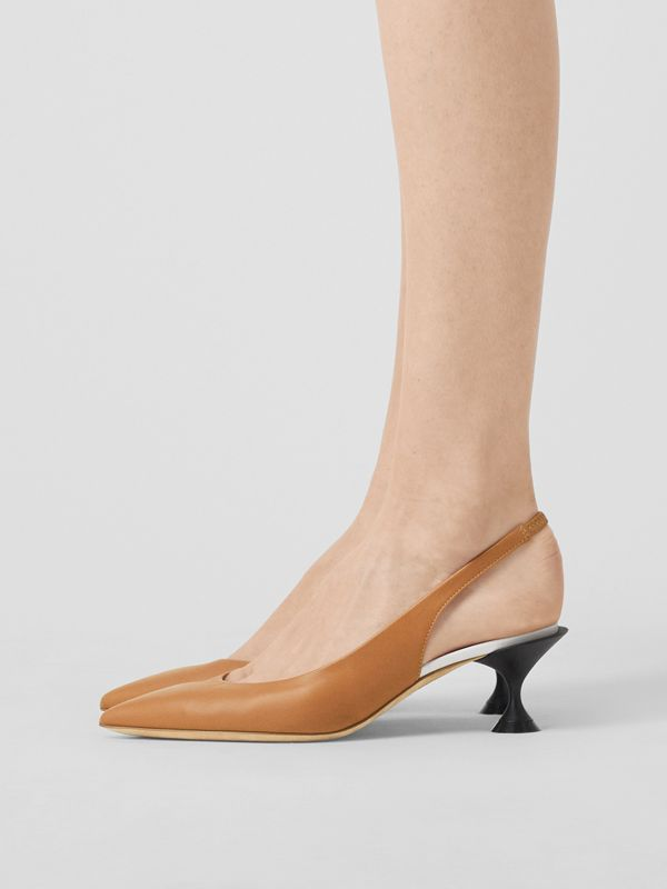 Leather Slingback Pumps in Camel - Women | Burberry - cell image 2