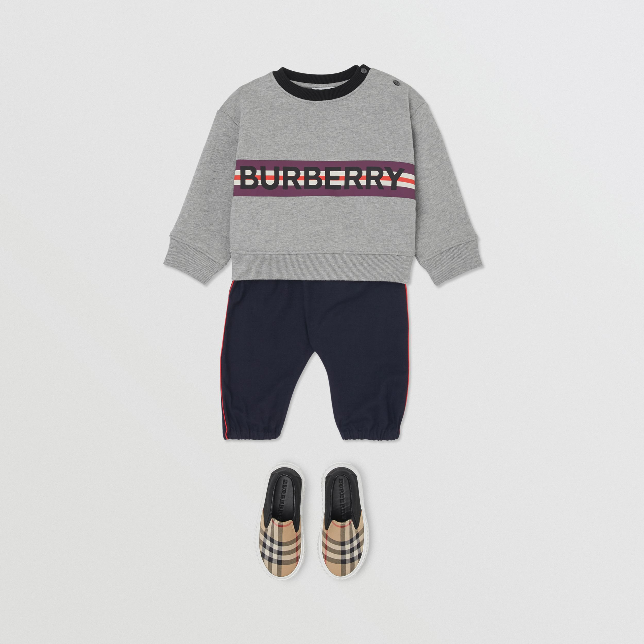 Logo Print Jersey Sweatshirt in Grey Melange - Children | Burberry - 4