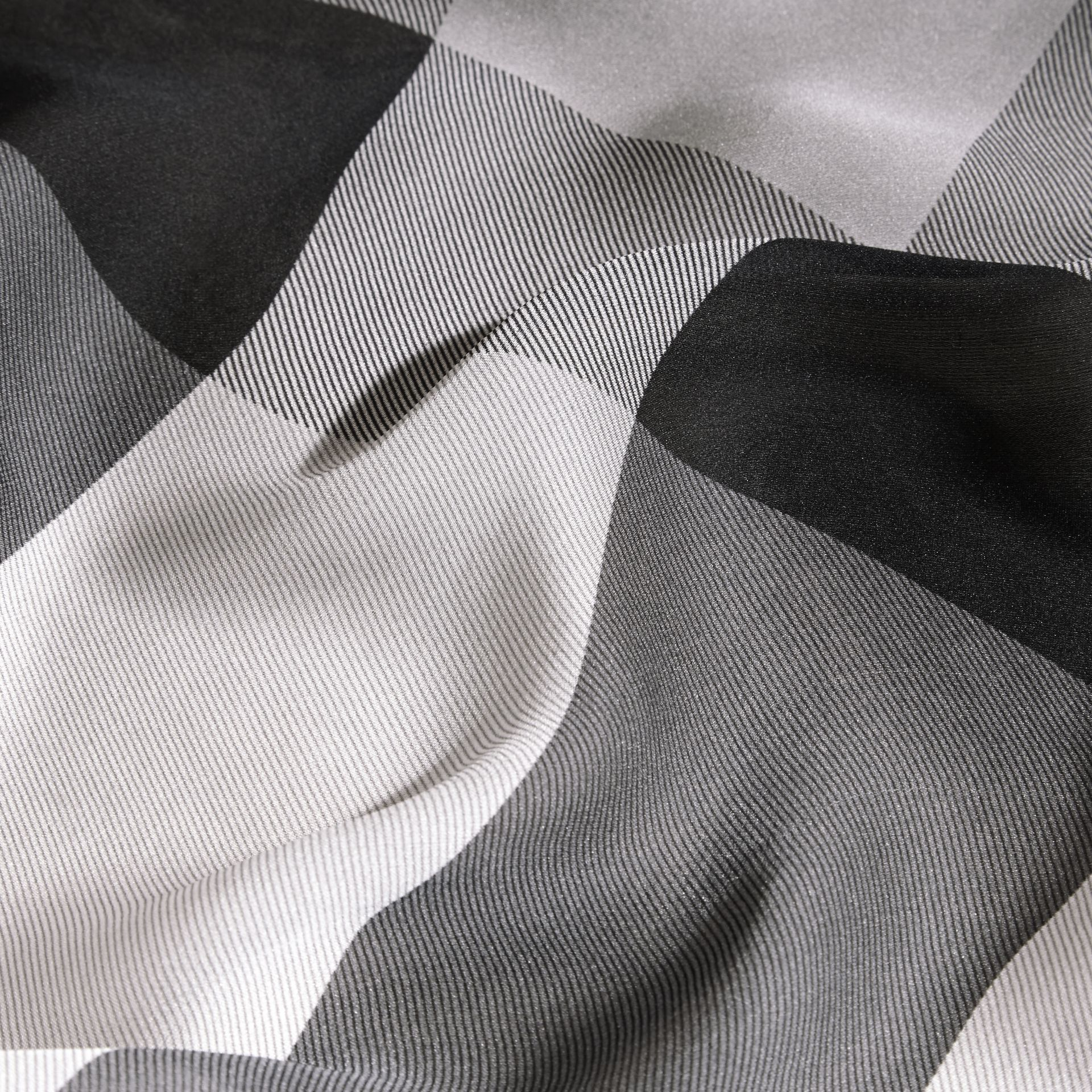 Ombré Washed Check Silk Scarf Mid Grey - gallery image 2