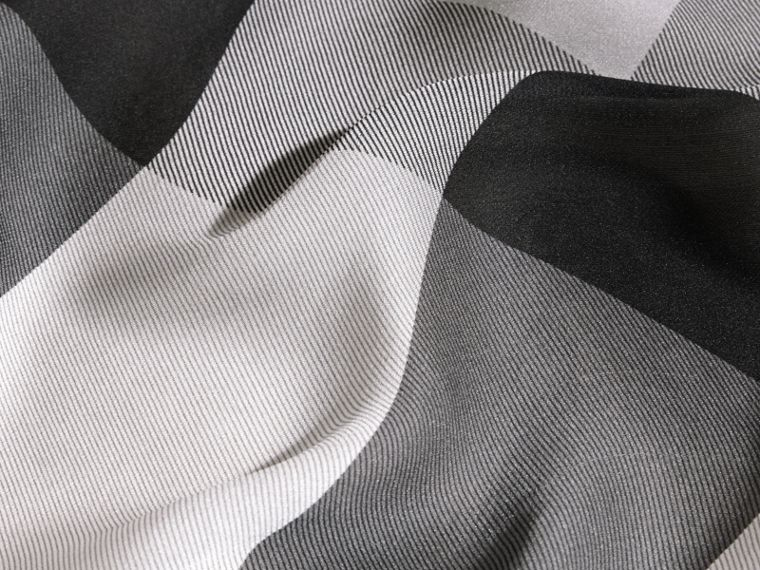 Ombré Washed Check Silk Scarf in Mid Grey - cell image 1
