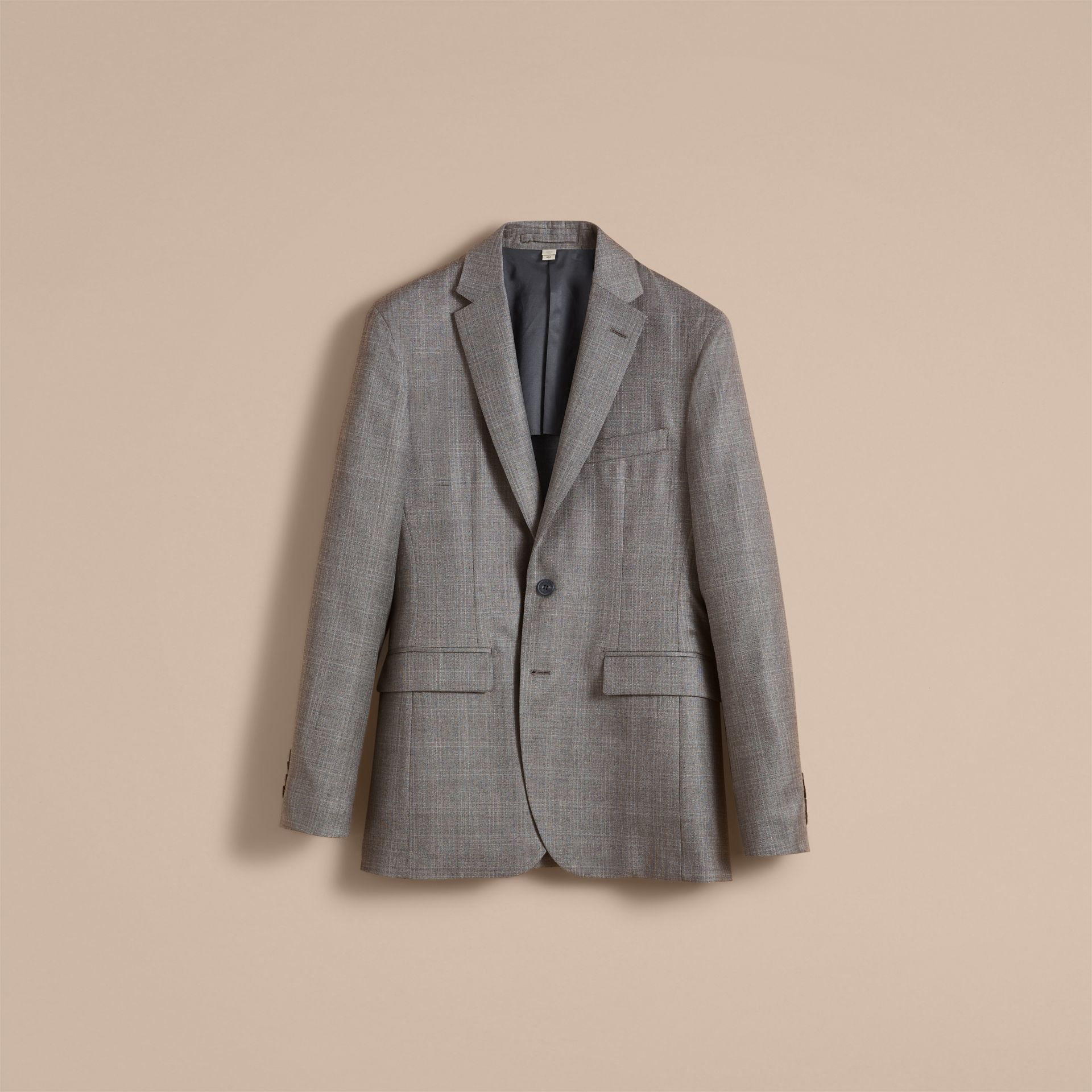 Slim Fit Prince of Wales Check Wool Part-canvas Suit in Pale Grey - Men | Burberry - gallery image 2