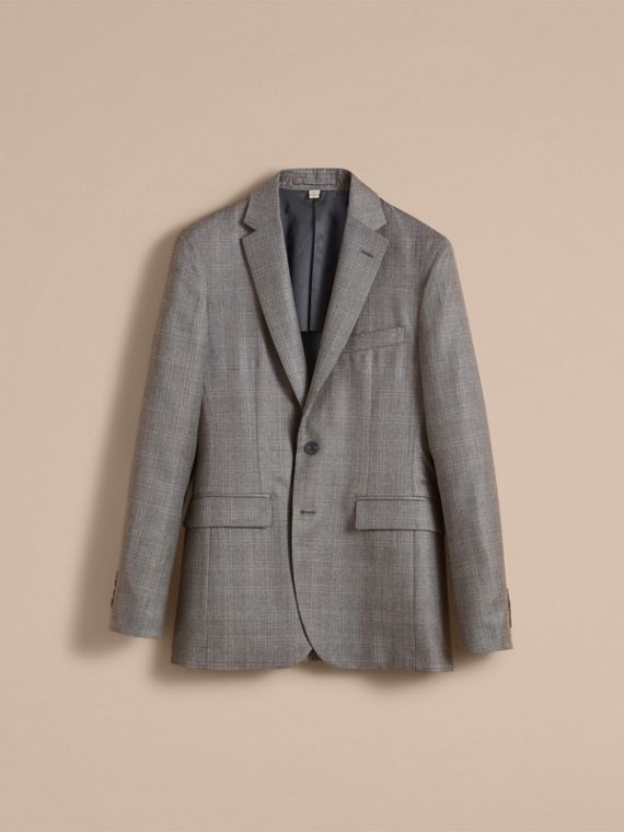 Slim Fit Prince of Wales Check Wool Part-canvas Suit in Pale Grey - Men | Burberry Hong Kong - cell image 2