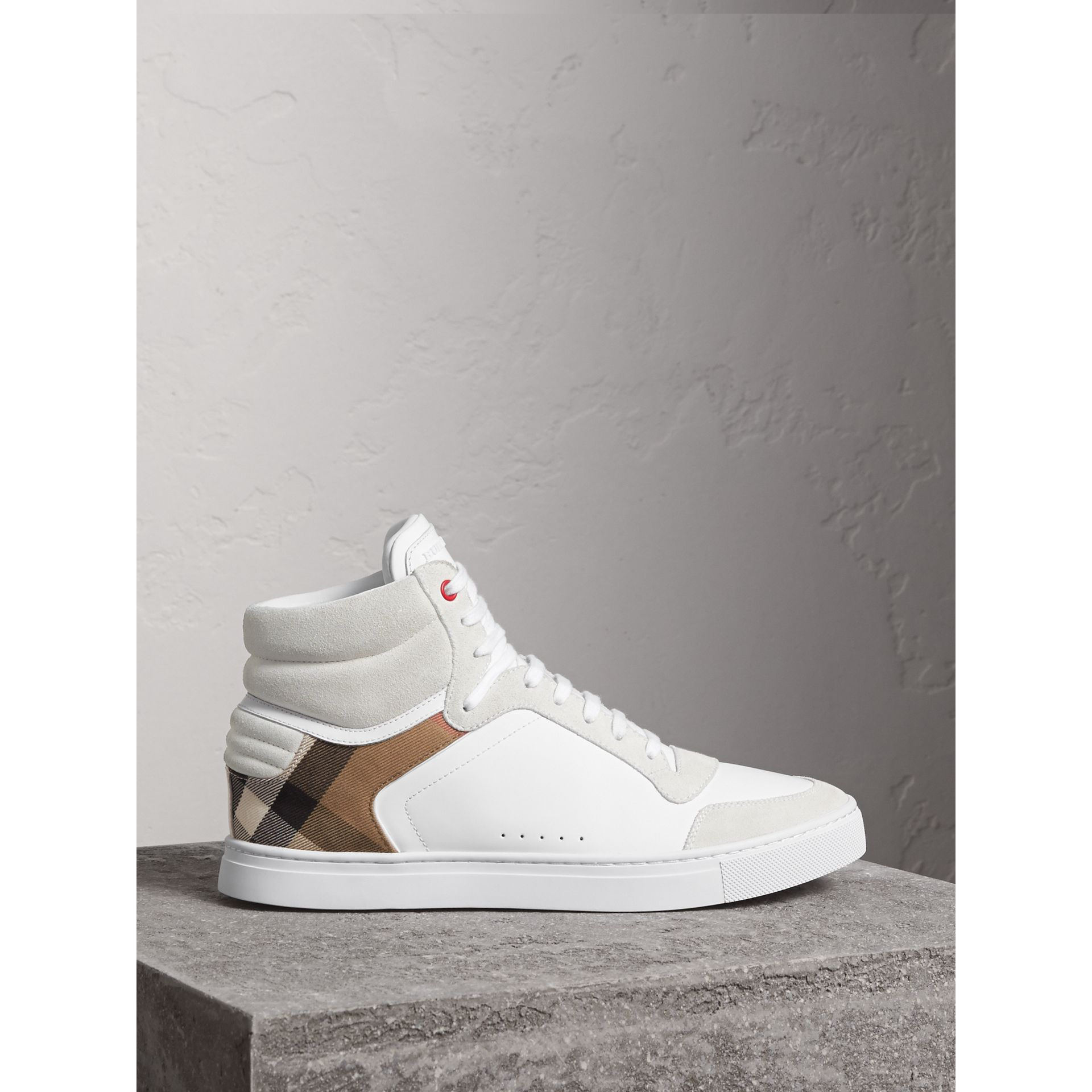 Leather and House Check High-top Sneakers in Optic White - Men | Burberry Canada - gallery image 0
