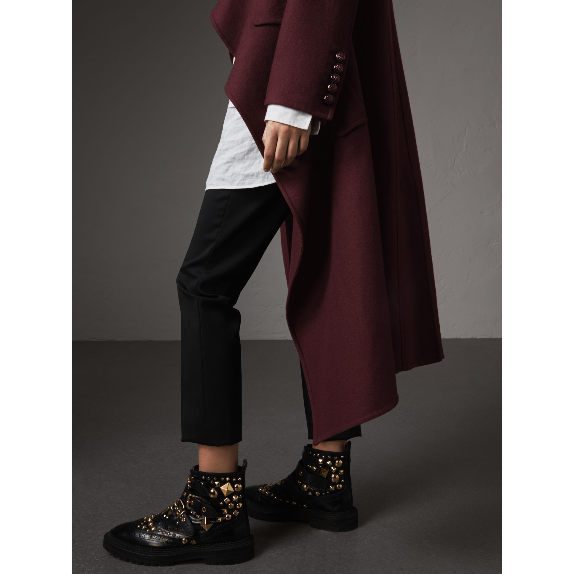 Double-faced Wool Cashmere Wrap Coat in Deep Claret - Women | Burberry Singapore - gallery image 2