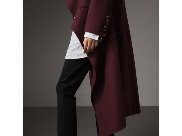 Double-faced Wool Cashmere Wrap Coat in Deep Claret - Women | Burberry Canada - cell image 1