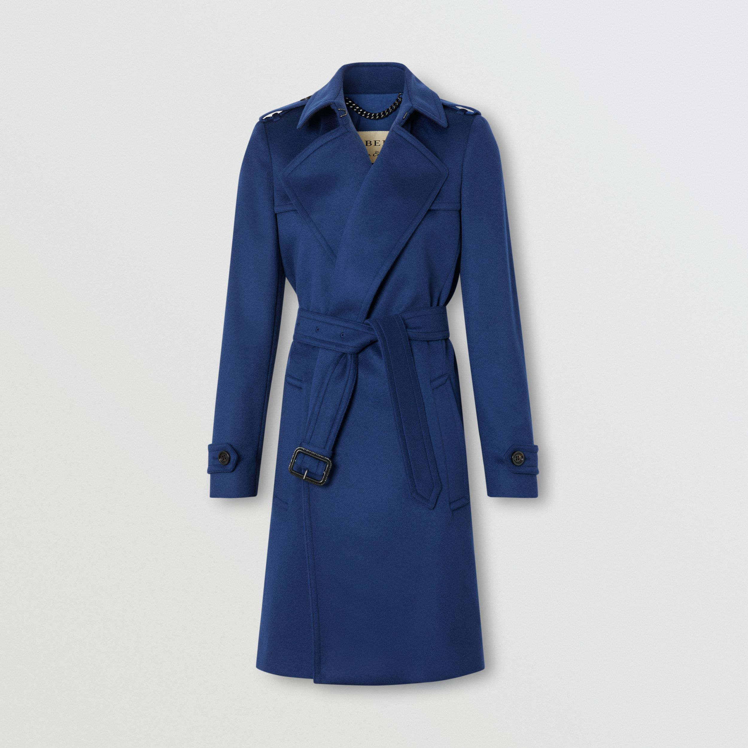 Wool Cashmere Wrap Coat in Blue - Women | Burberry - 1