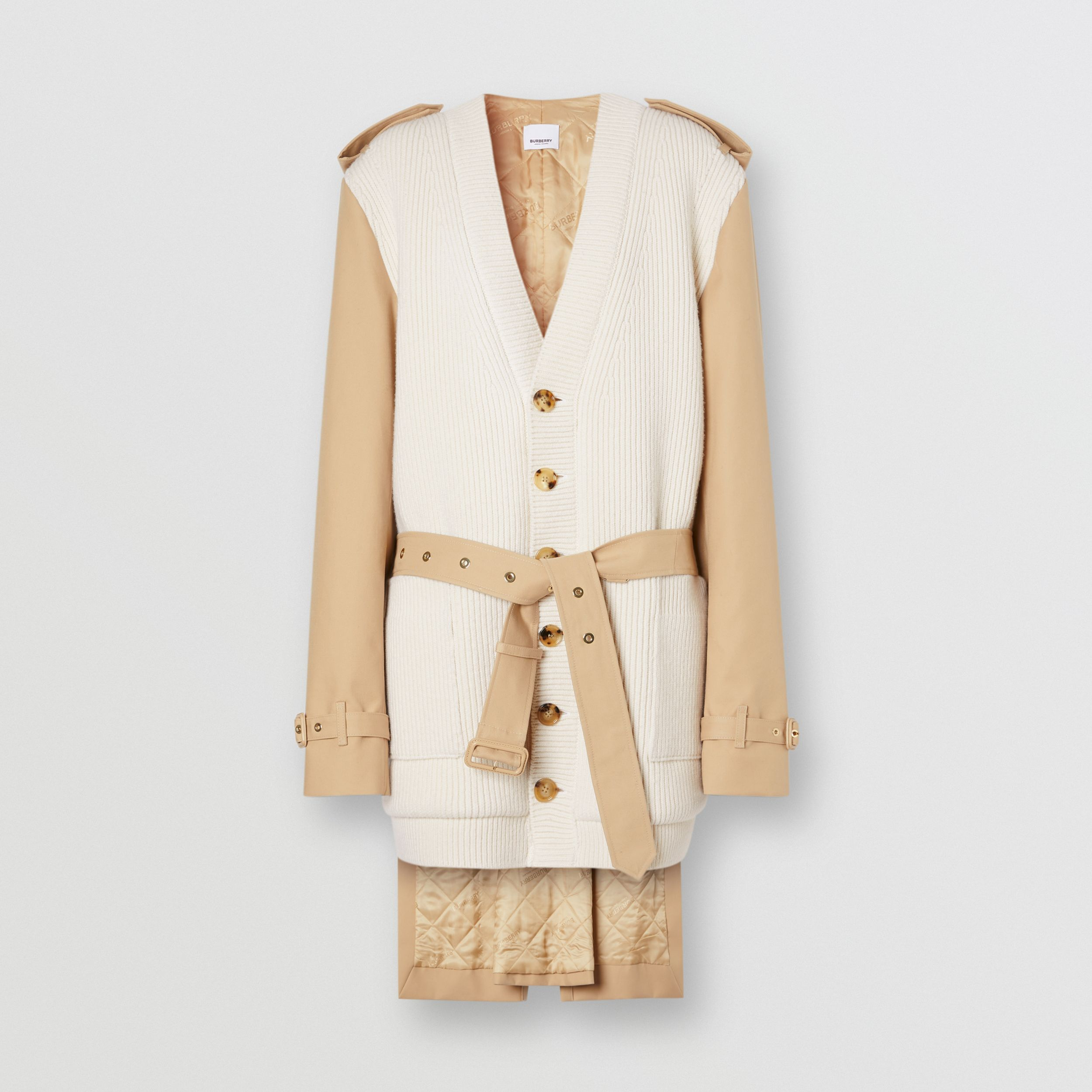 Trench Coat Panel Rib Knit Wool Blend Cardigan in Soft Fawn - Women | Burberry United States - 4