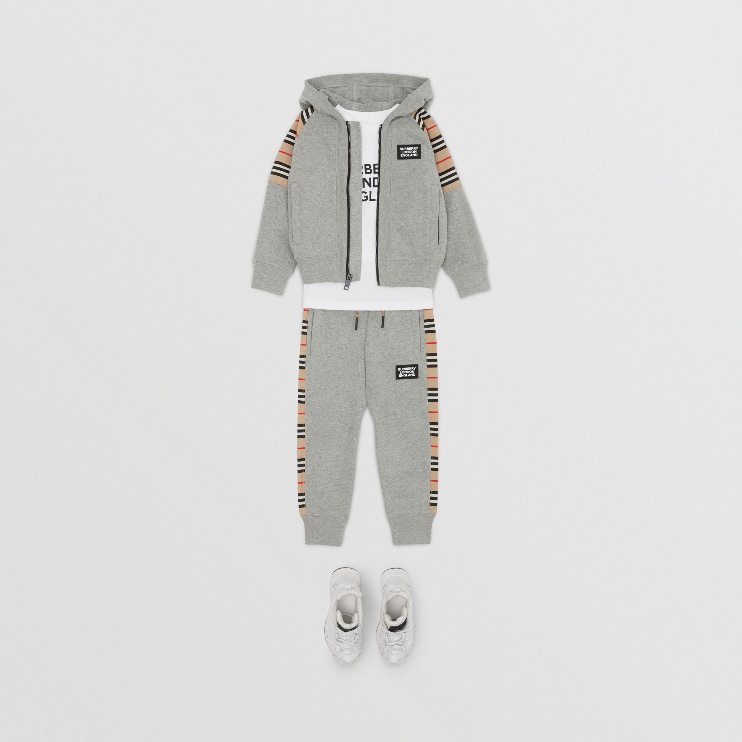 Icon Stripe Panel Cotton Jogging Pants in Grey Melange | Burberry - 4