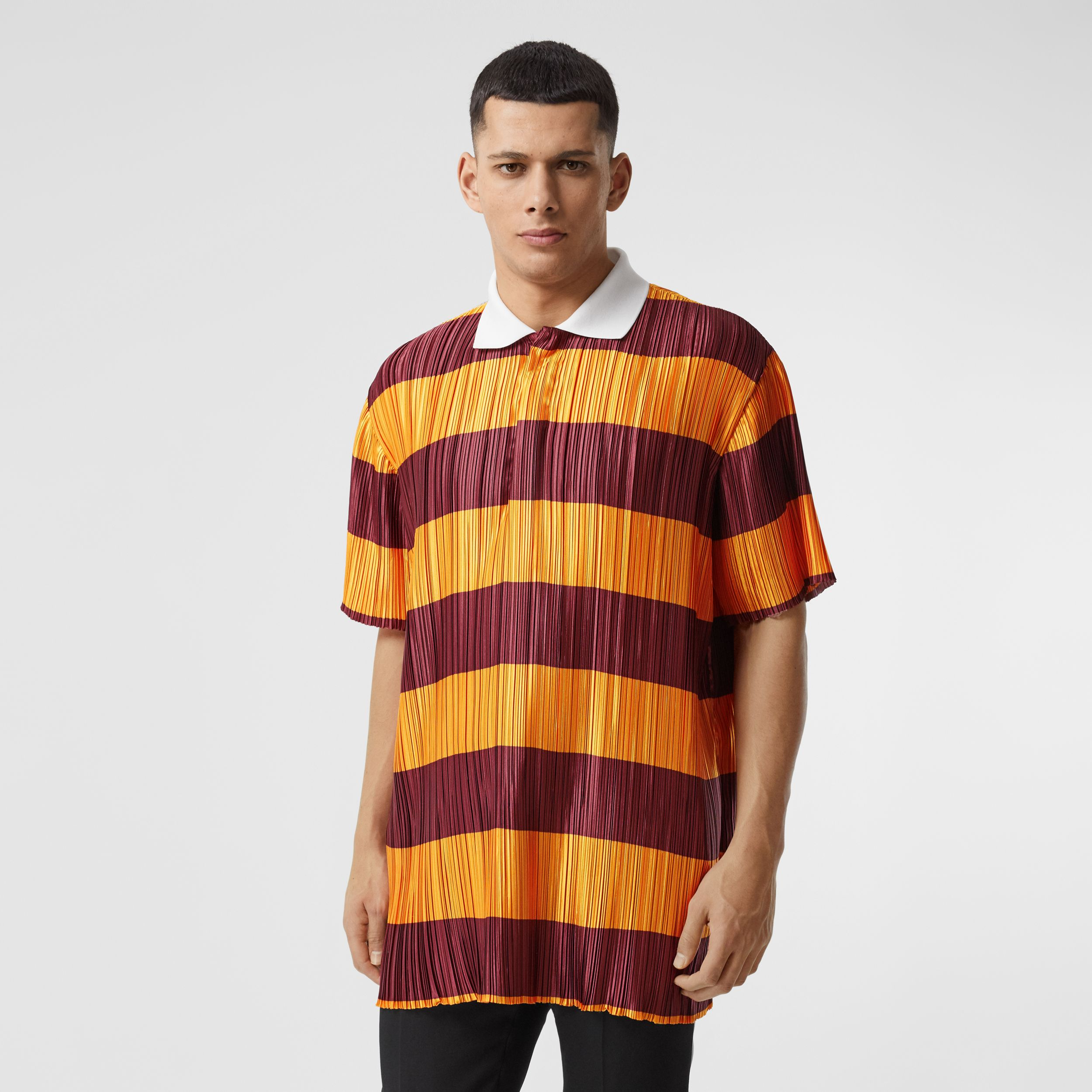 Striped Satin Plissé Polo Shirt in Citrus Orange | Burberry - 1