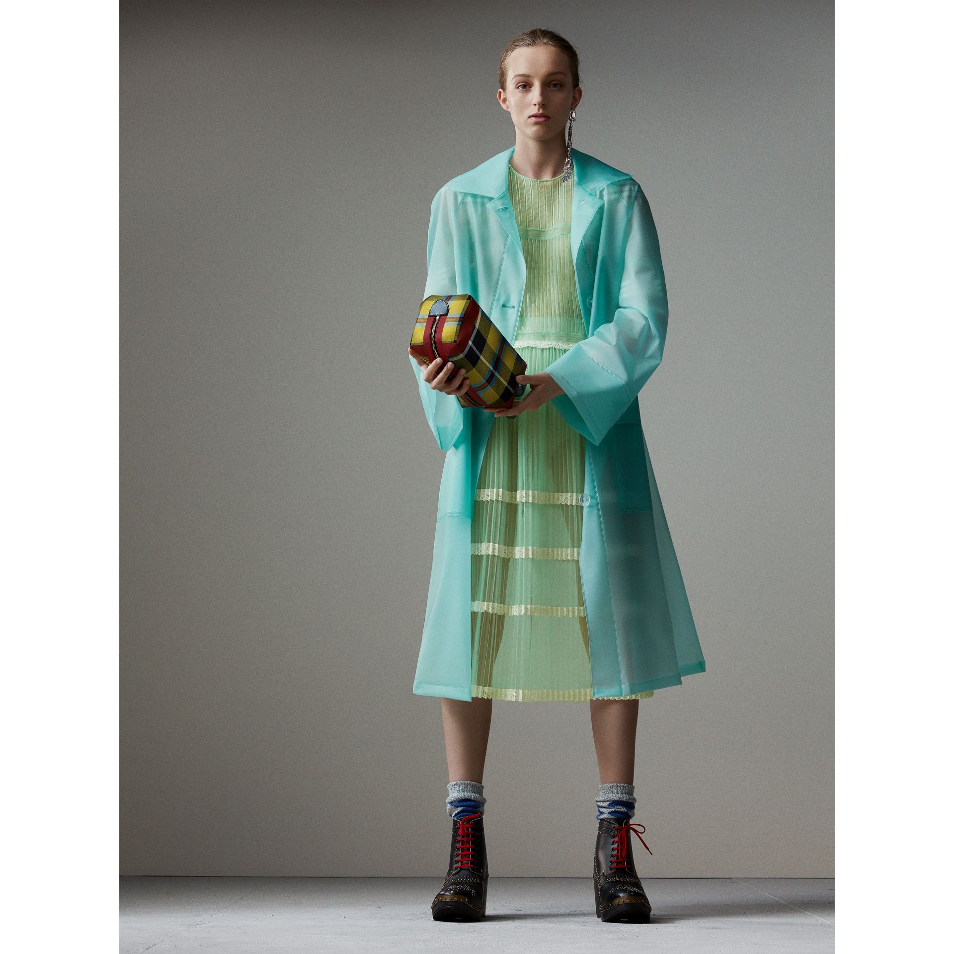 Soft-touch Plastic Car Coat in Turquoise - Women | Burberry - gallery image 0