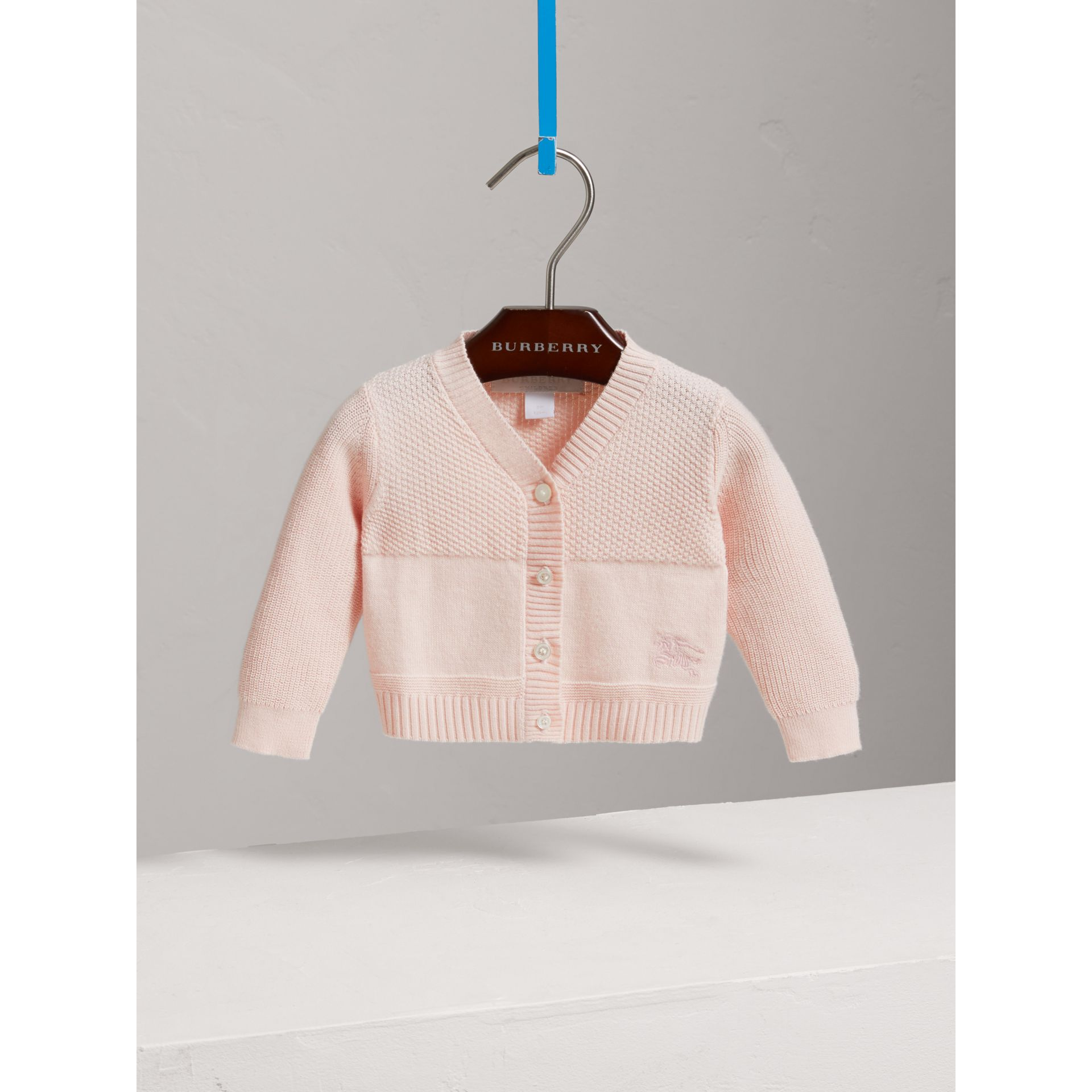 Multi-stitch Cotton Cardigan in Powder Pink - Children | Burberry - gallery image 0