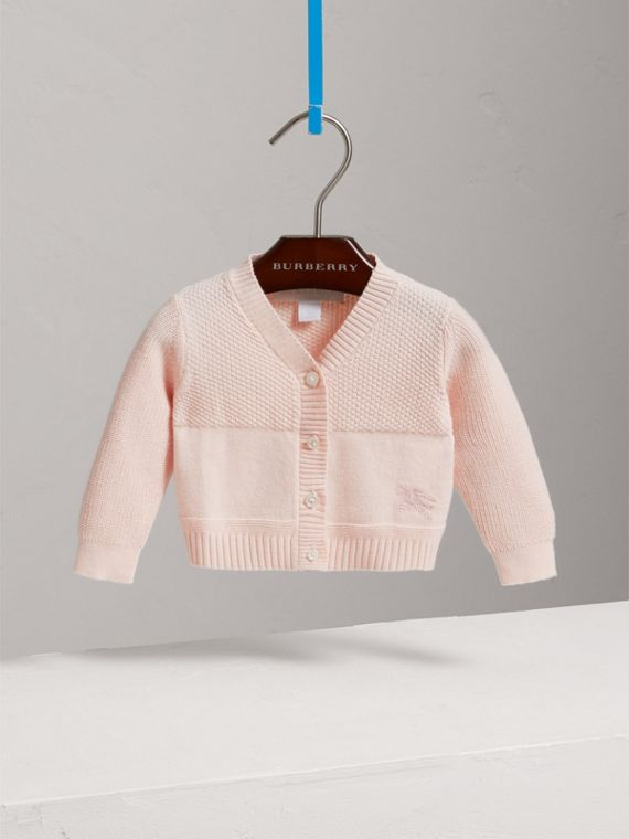 Cardigan in cotone con impunture multiple (Rosa Cipria)