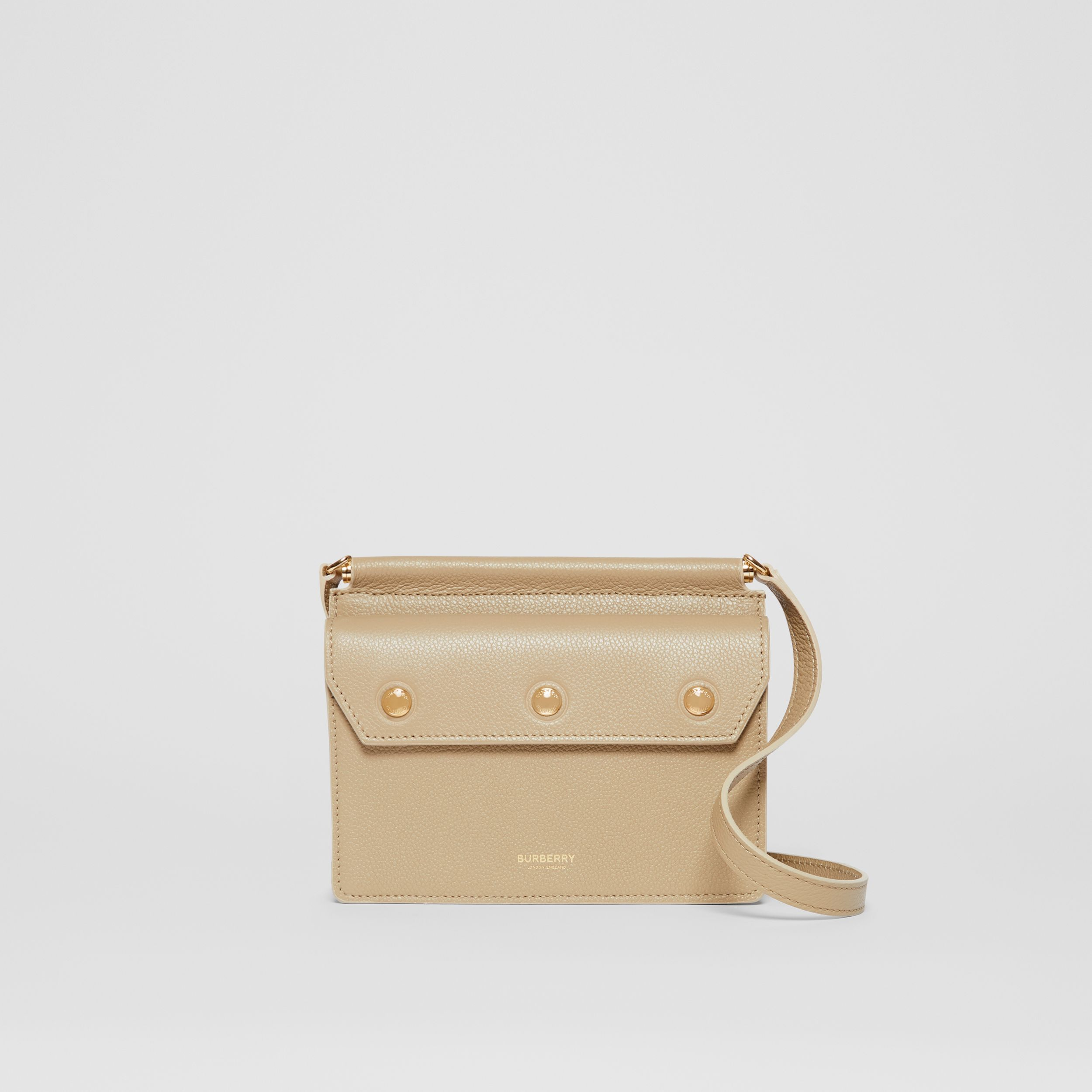 Mini Leather Title Bag with Pocket Detail in Honey - Women | Burberry - 1