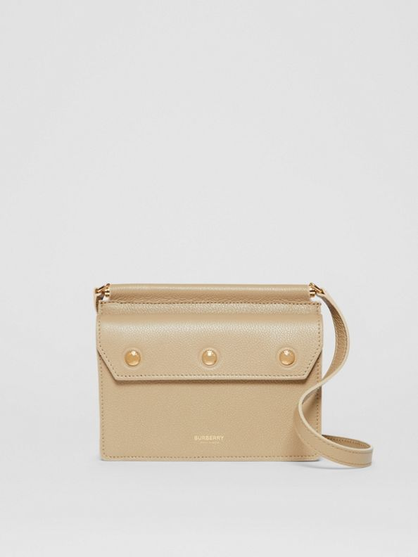 Mini Leather Title Bag with Pocket Detail in Honey