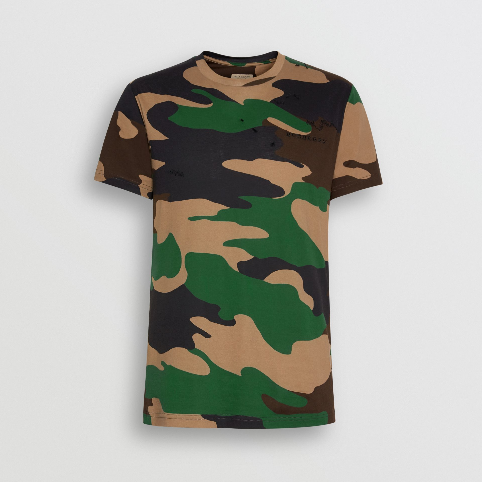 Camouflage Print Cotton T-shirt in Forest Green - Men | Burberry Australia - gallery image 3