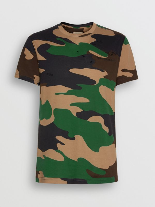 Camouflage Print Cotton T-shirt in Forest Green - Men | Burberry Australia - cell image 3