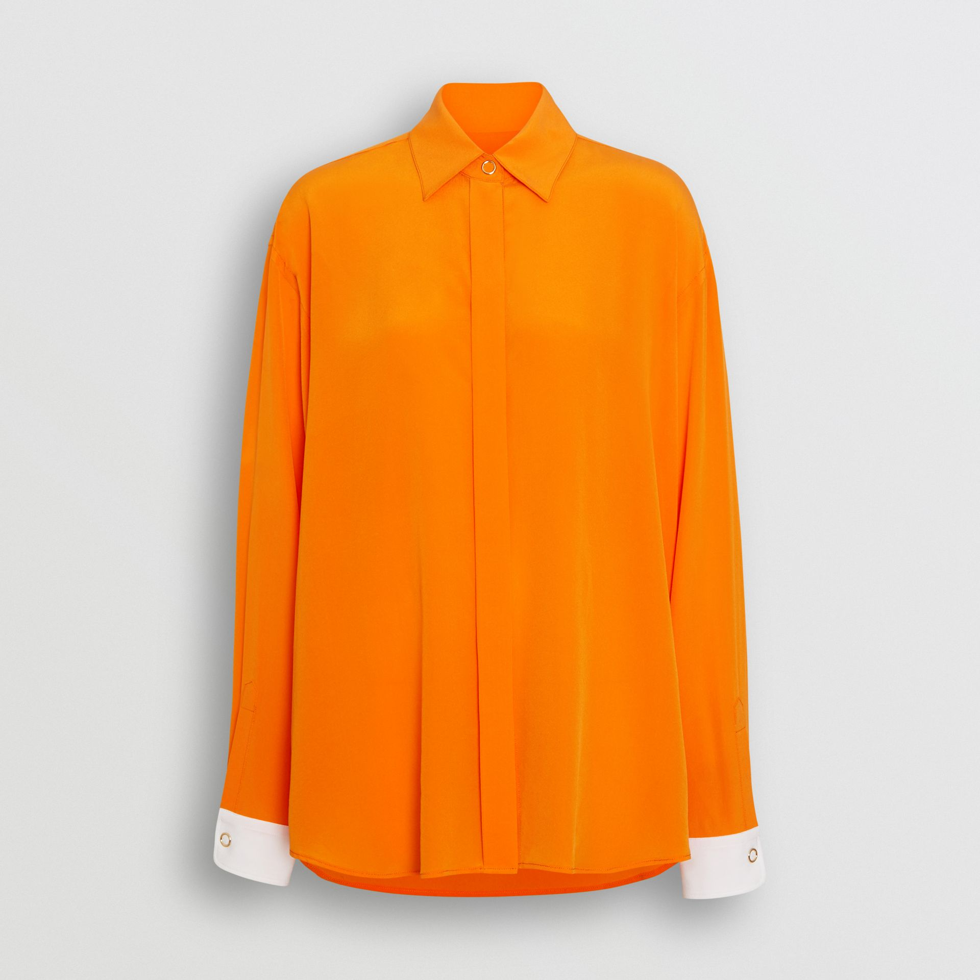 Contrast Cuff Silk Oversized Shirt in Orange - Women | Burberry - gallery image 3