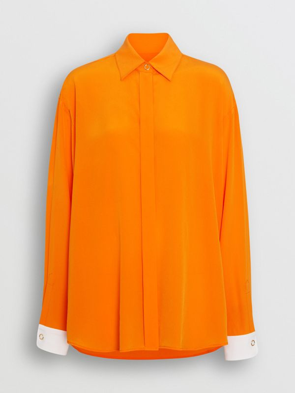 Contrast Cuff Silk Oversized Shirt in Orange - Women | Burberry - cell image 3