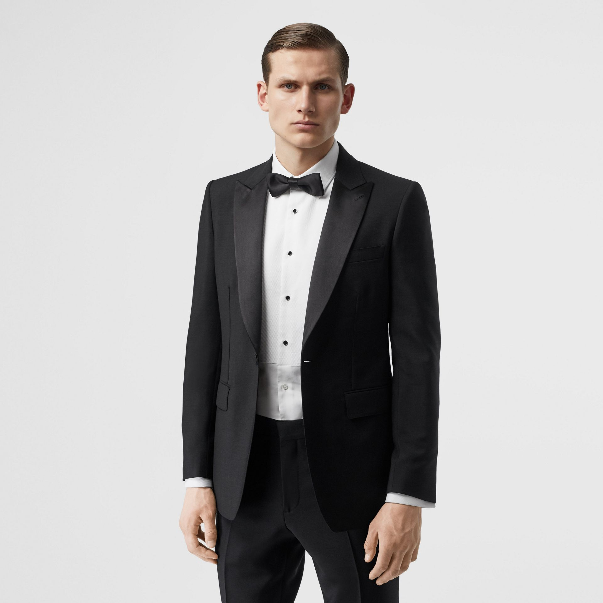 English Fit Mohair Wool Tuxedo in Black - Men | Burberry - gallery image 7