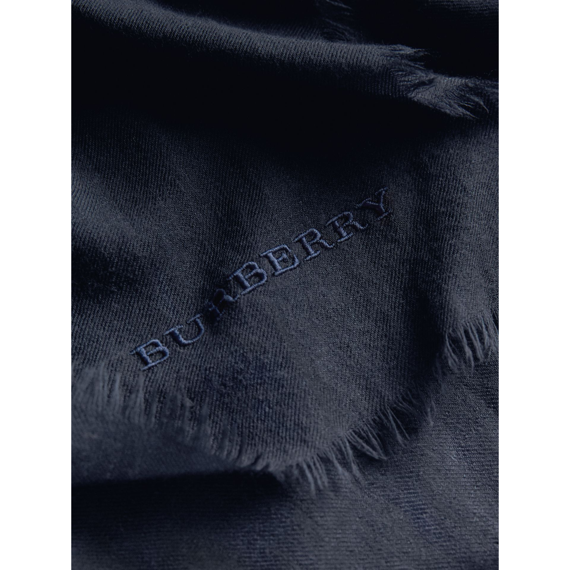 The Lightweight Cashmere Scarf in Navy | Burberry Australia - gallery image 5