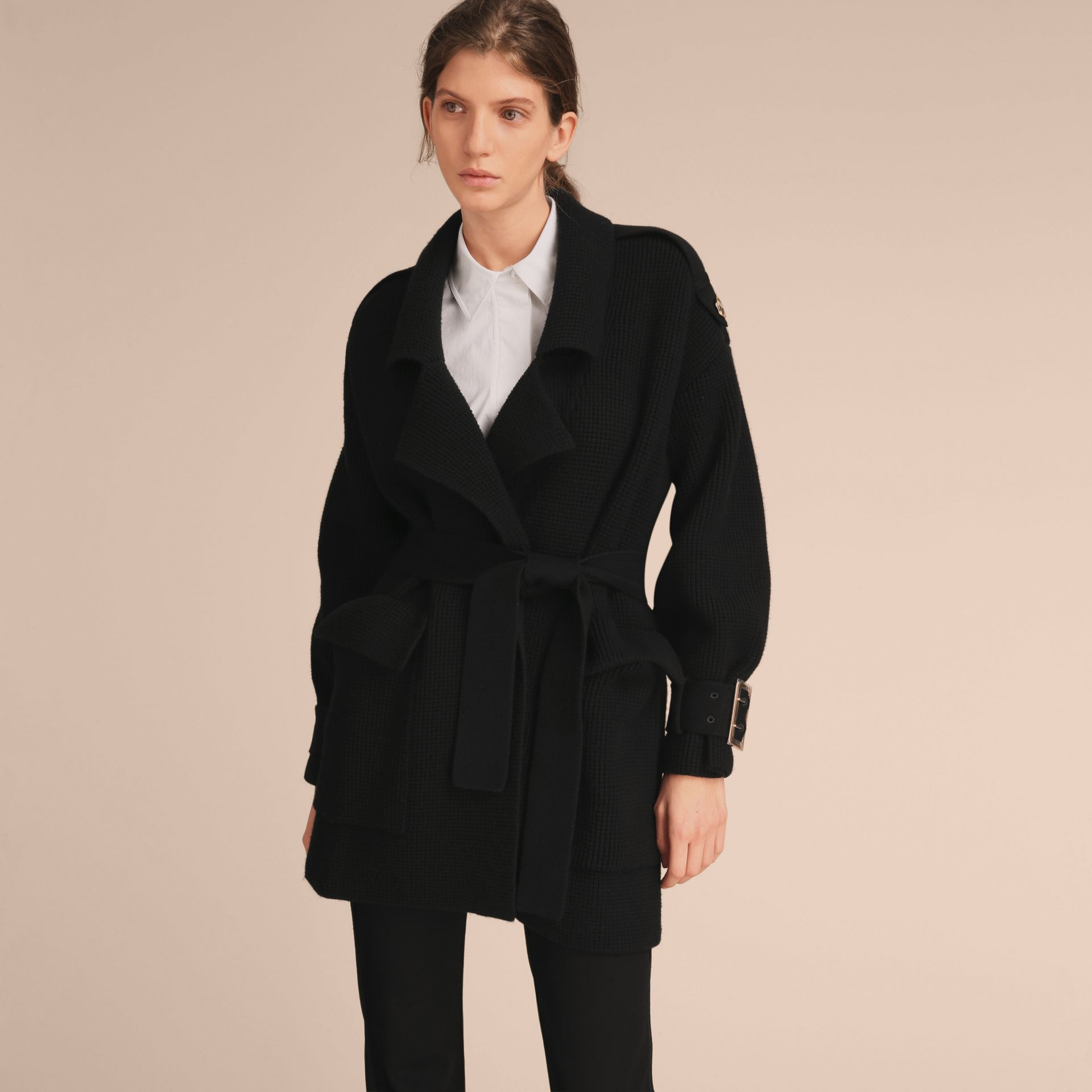 Knitted Wool Cashmere Blend Trench Coat - gallery image 7