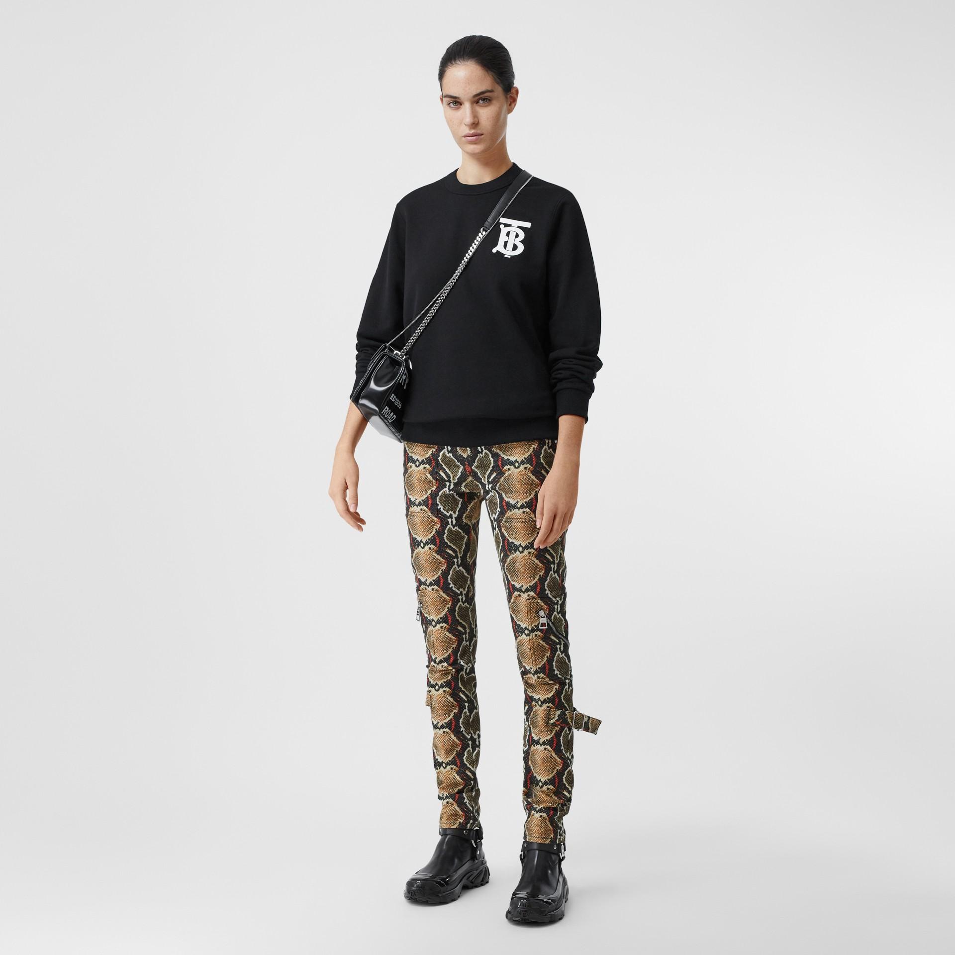 Monogram Motif Cotton Sweatshirt in Black - Women | Burberry - gallery image 3
