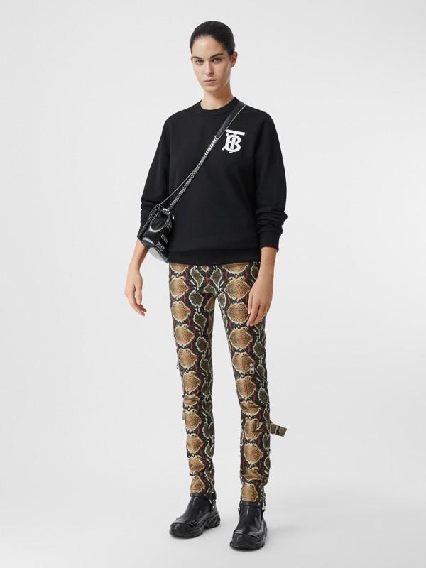 Monogram Motif Cotton Sweatshirt in Black - Women | Burberry United States - cell image 3