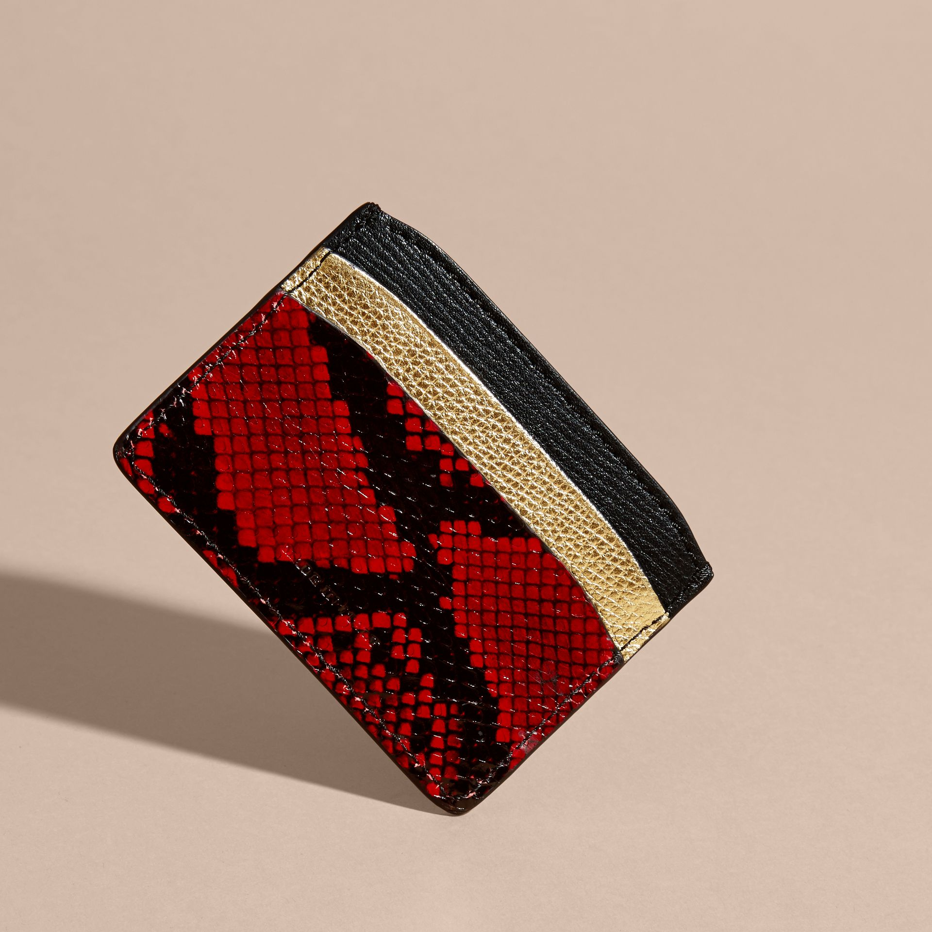 Colour Block Leather and Snakeskin Card Case in Black/gold - gallery image 4