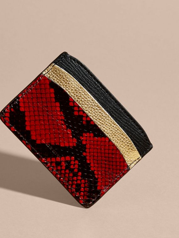 Colour Block Leather and Snakeskin Card Case in Black/gold - cell image 3