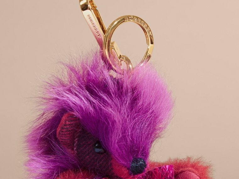 Thomas Bear Pom-Pom Charm in Check Cashmere in Fuchsia Pink - cell image 1