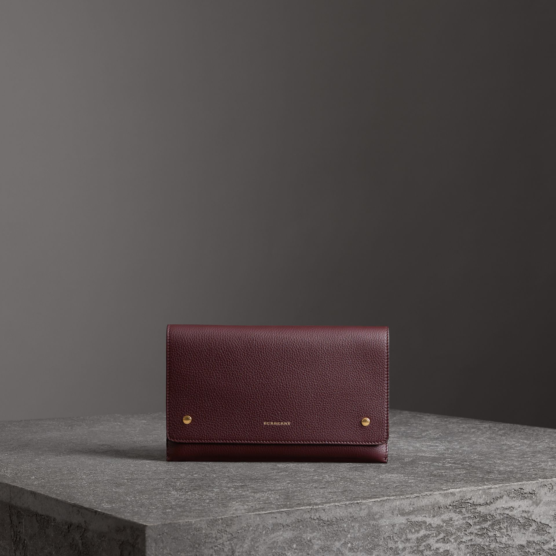 Two-tone Leather Wristlet Clutch in Deep Claret - Women | Burberry - gallery image 0