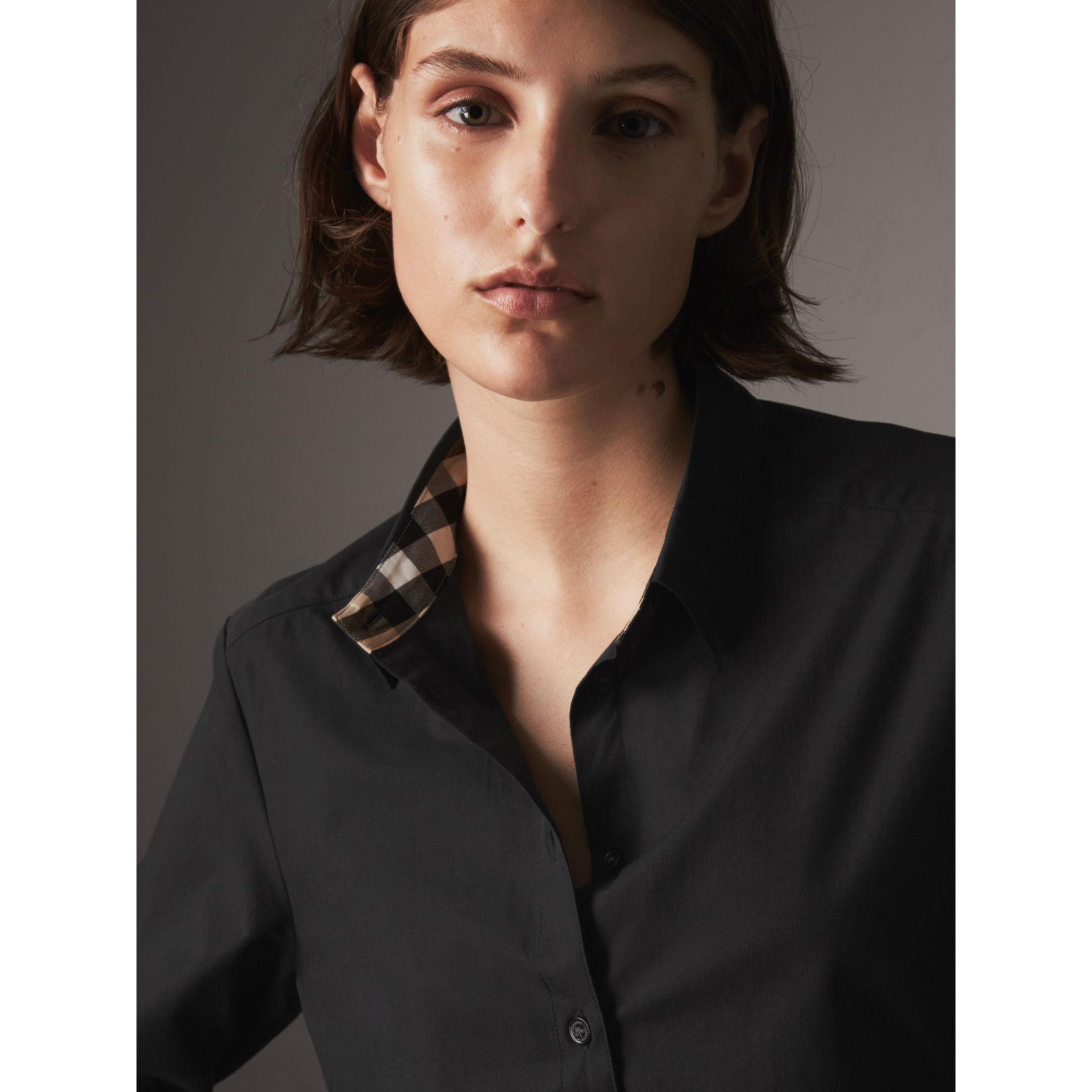Check Detail Stretch-cotton Shirt in Black - Women | Burberry - gallery image 2