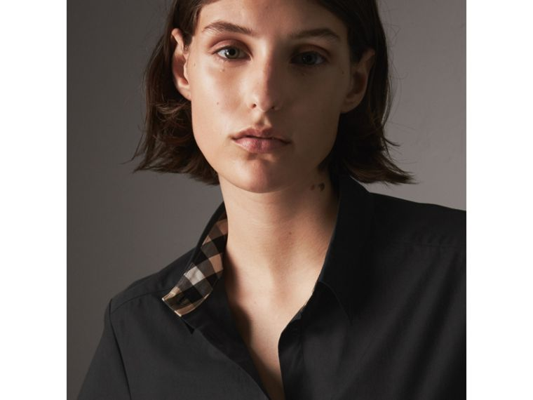 Check Detail Stretch-cotton Shirt in Black - Women | Burberry - cell image 1
