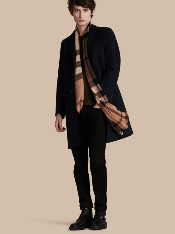 Wool Cashmere Tailored Coat Navy