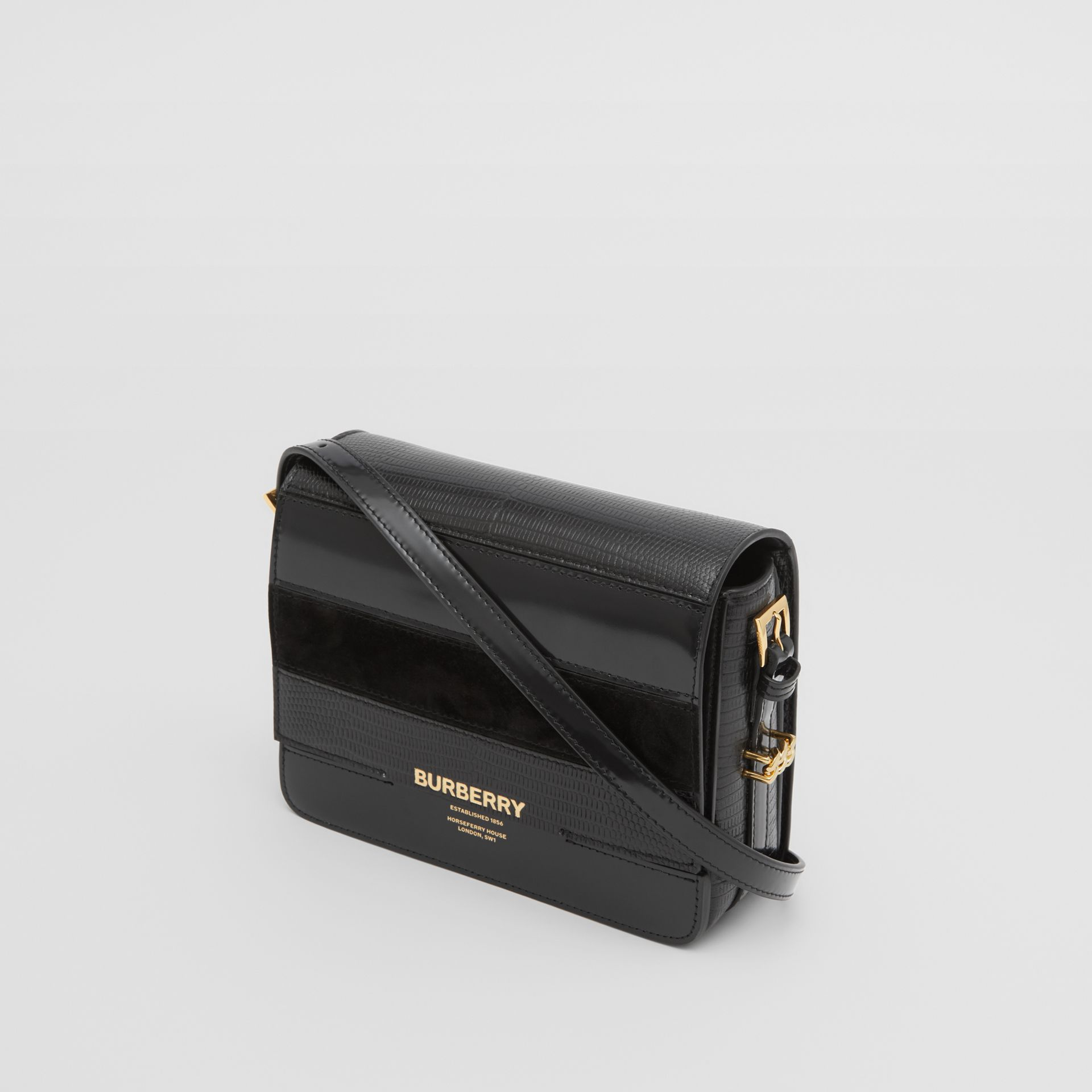 Small Panelled Deerskin and Suede Grace Bag in Black - Women | Burberry - gallery image 2