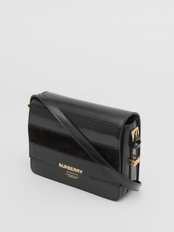 Small Panelled Deerskin and Suede Grace Bag in Black - Women | Burberry - cell image 3