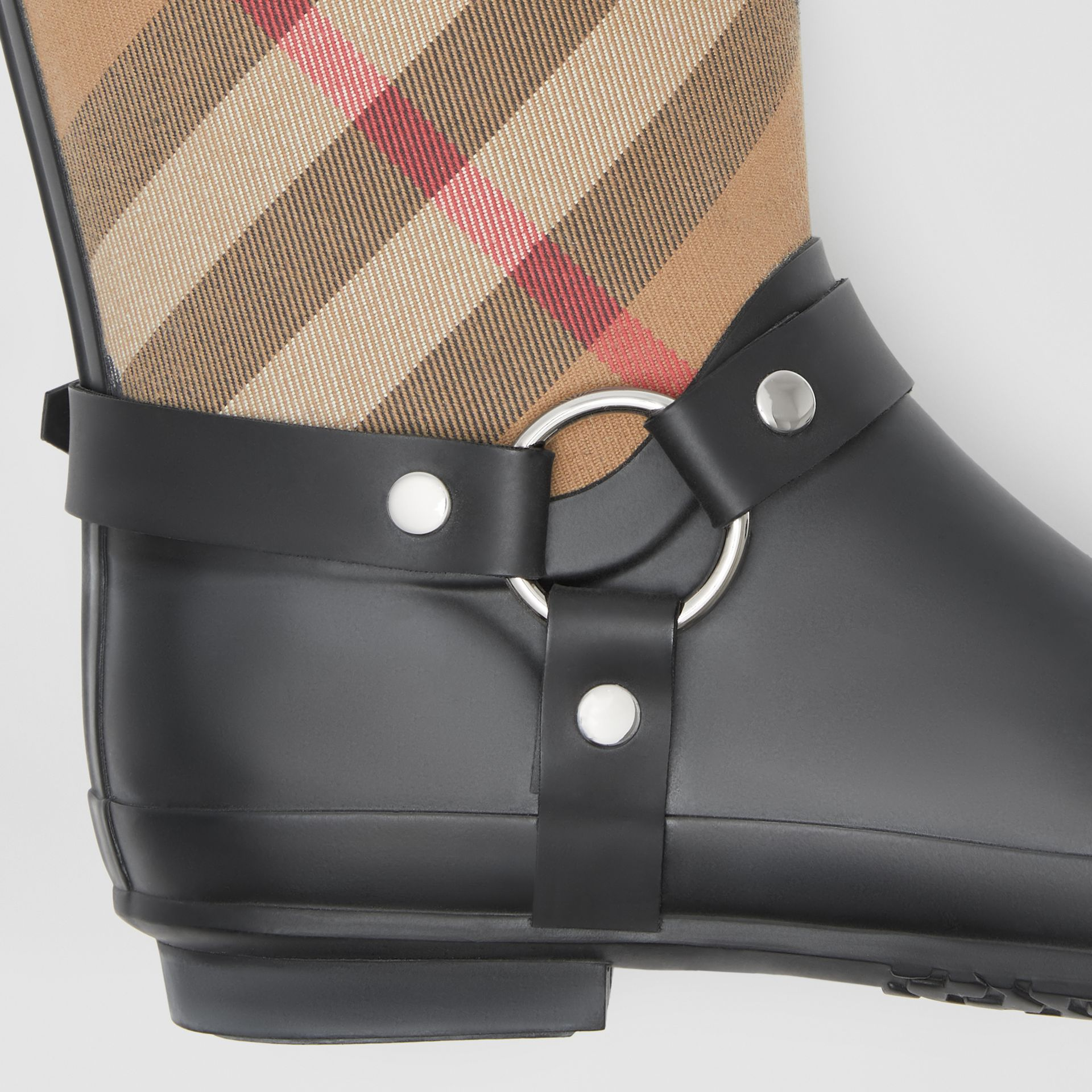 Buckle and Strap Detail Check Rain Boots in House Check/black - Women | Burberry Australia - gallery image 1