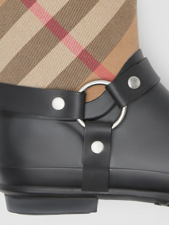 Buckle and Strap Detail Check Rain Boots in House Check/black - Women | Burberry Australia - cell image 1
