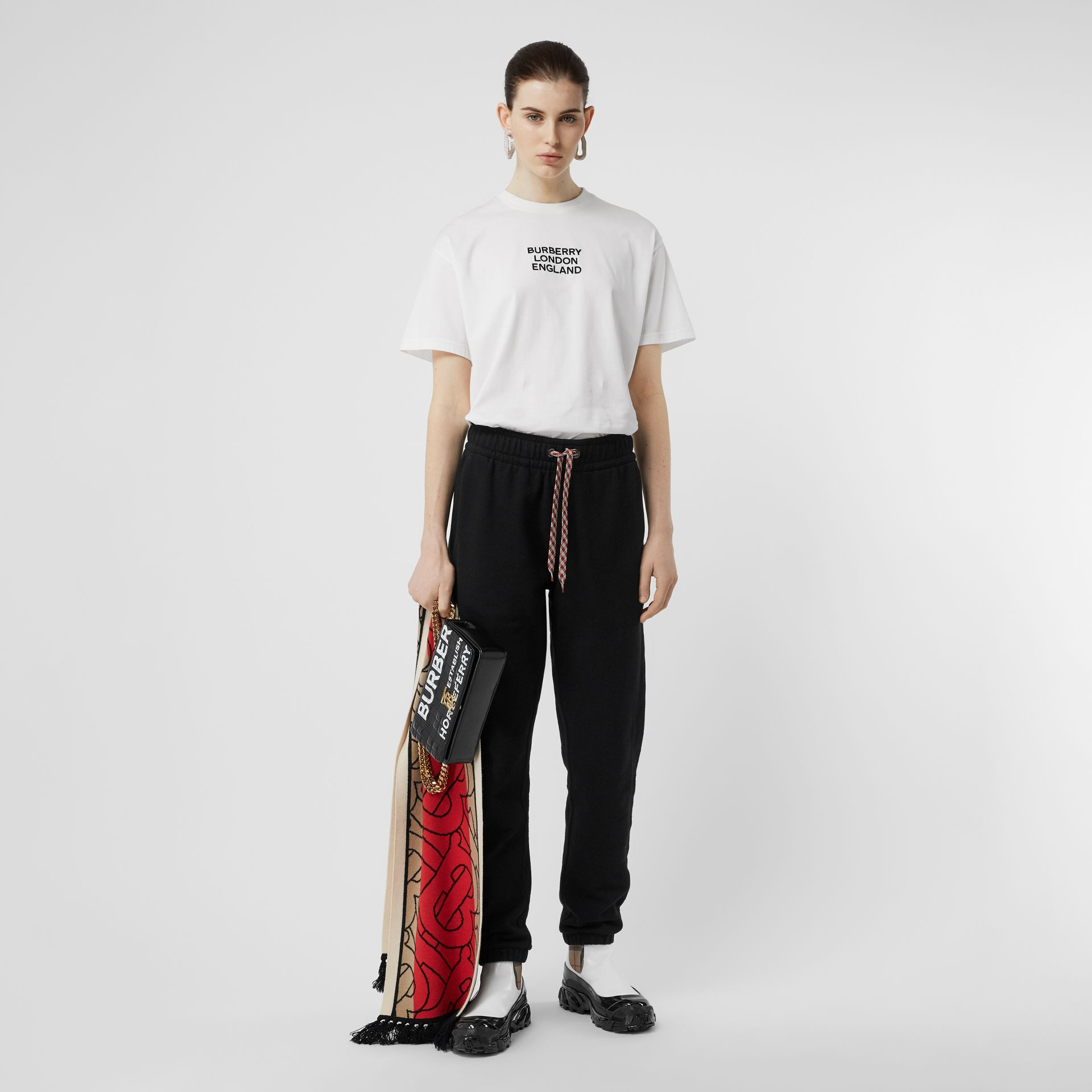 Embroidered Logo Cotton Trackpants in Black - Women | Burberry - gallery image 0