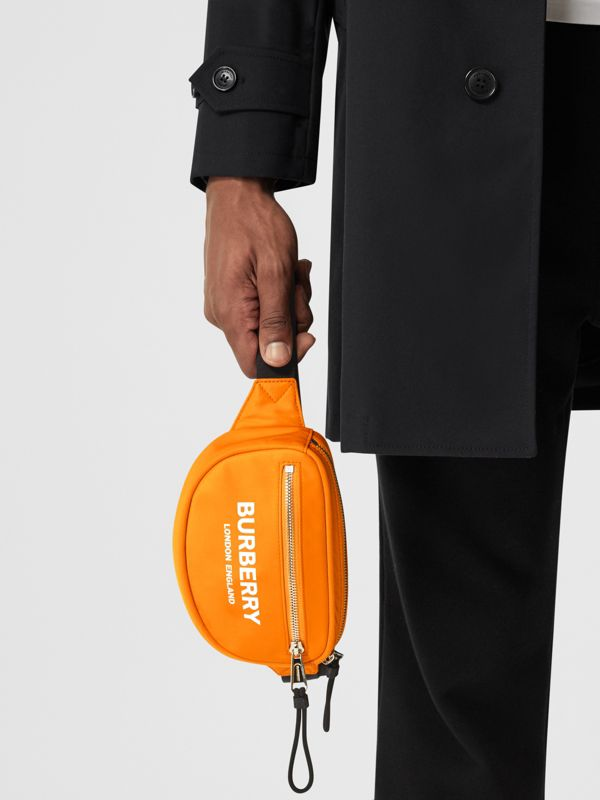 Small Logo Print ECONYL® Cannon Bum Bag in Bright Orange | Burberry - cell image 3