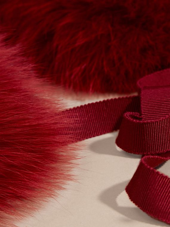 Parade red check Fox Fur Collar with Check Cashmere Lining Parade Red - cell image 3