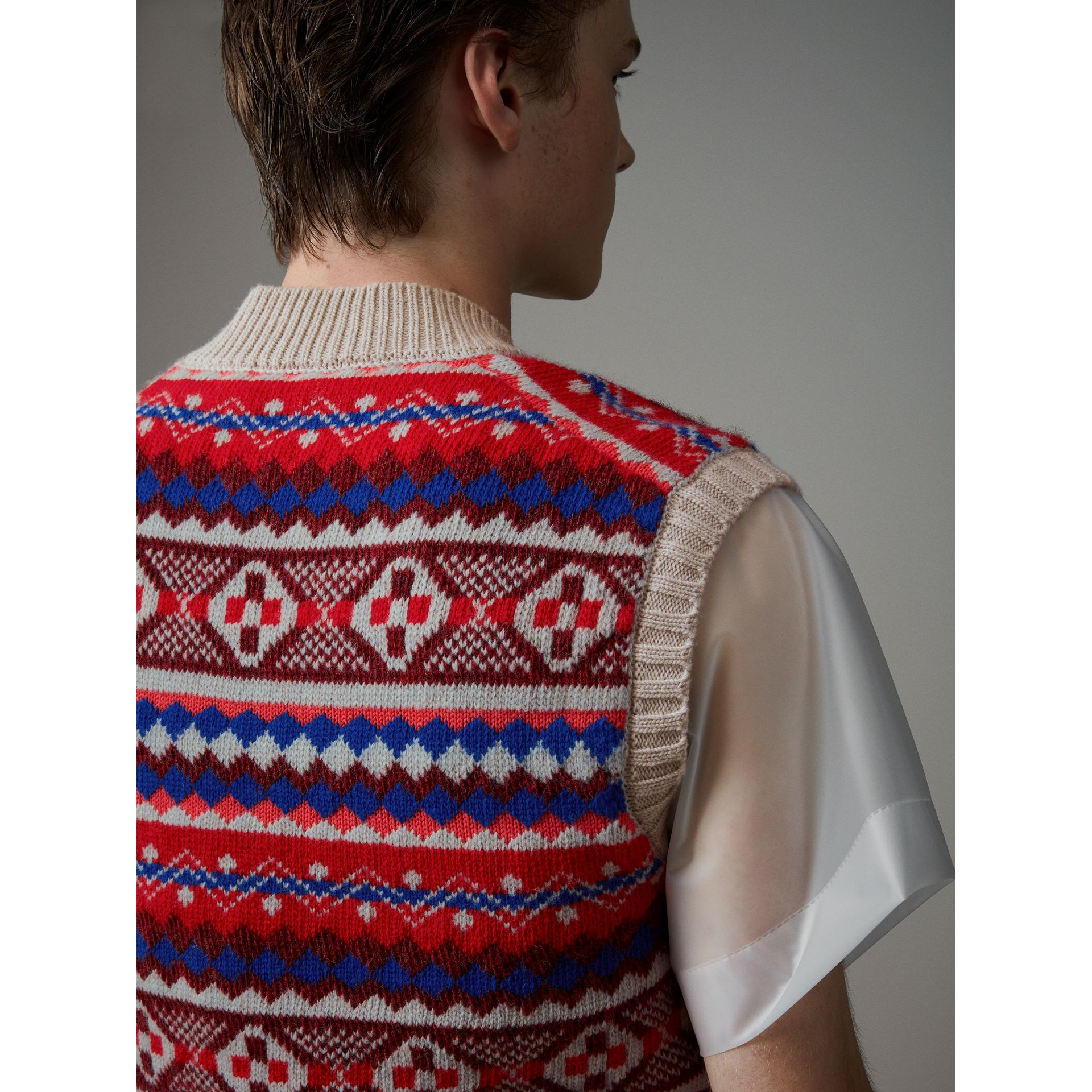 Fair Isle Wool Cropped Tank Top in Oatmeal - Men | Burberry - gallery image 5