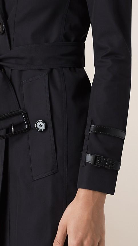 Navy Leather Detail Gabardine Trench Coat - Image 5
