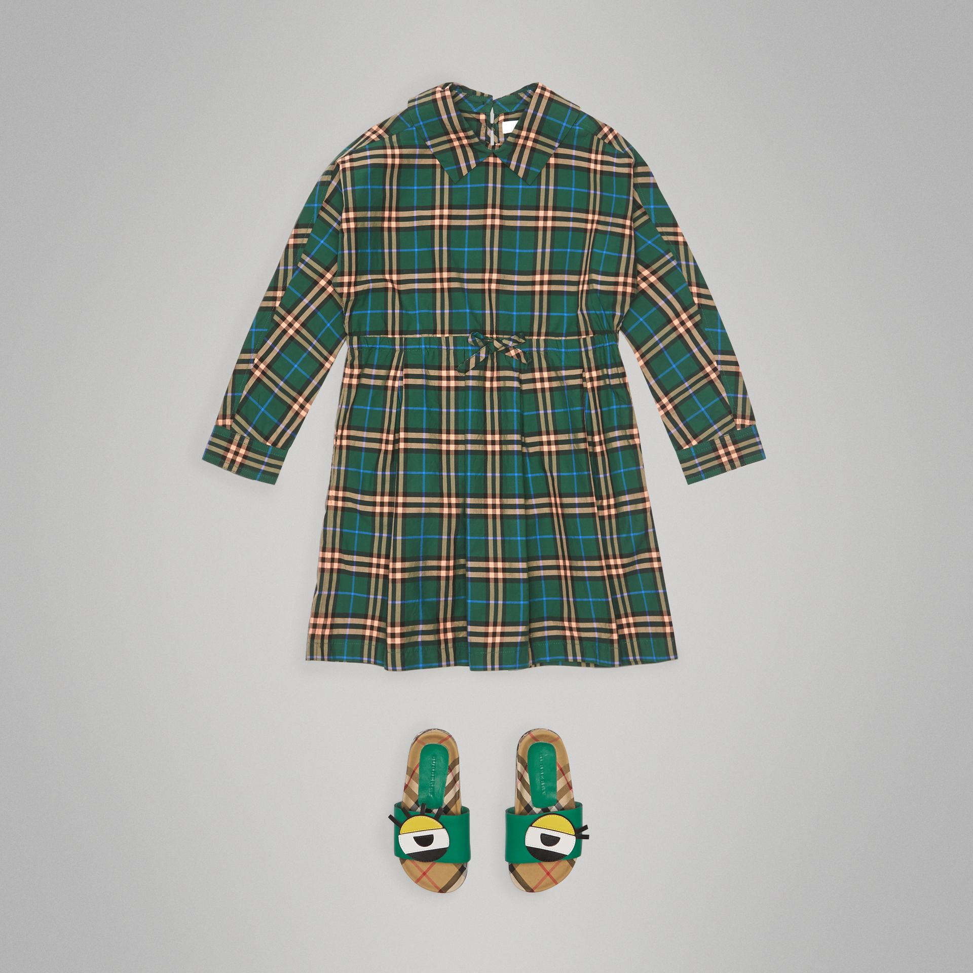 Check Cotton Drawcord Dress in Dark Forest Green | Burberry - gallery image 2