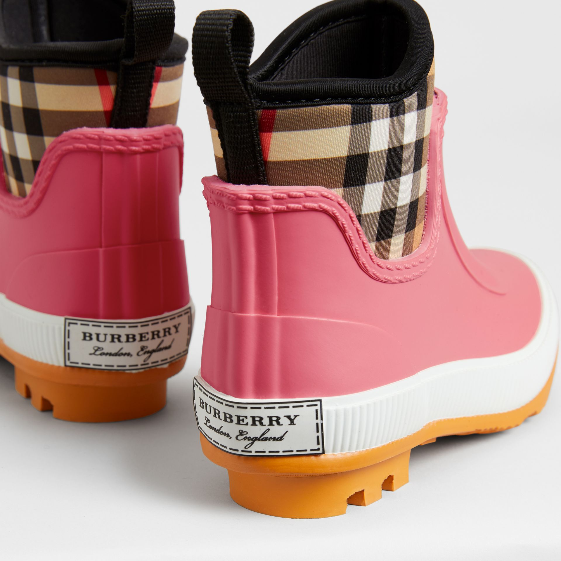 Vintage Check Neoprene and Rubber Rain Boots in Pink Azalea | Burberry Canada - gallery image 1