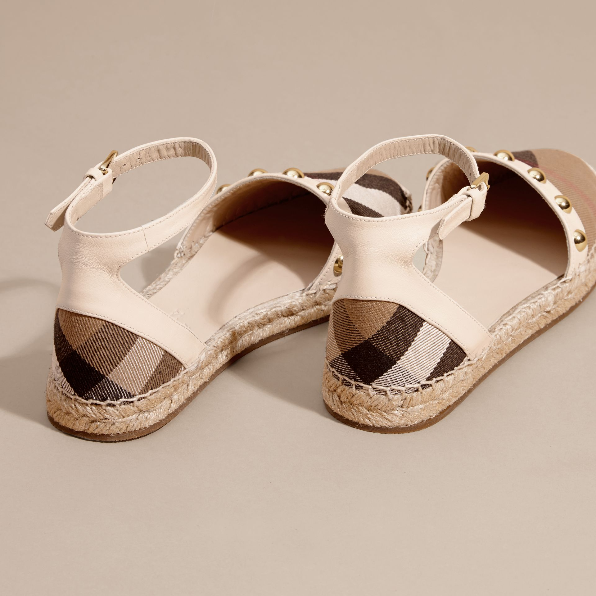 Cream Studded Leather and House Check Espadrille Sandals Cream - gallery image 4