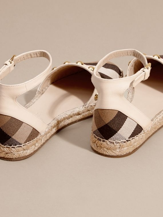 Cream Studded Leather and House Check Espadrille Sandals Cream - cell image 3