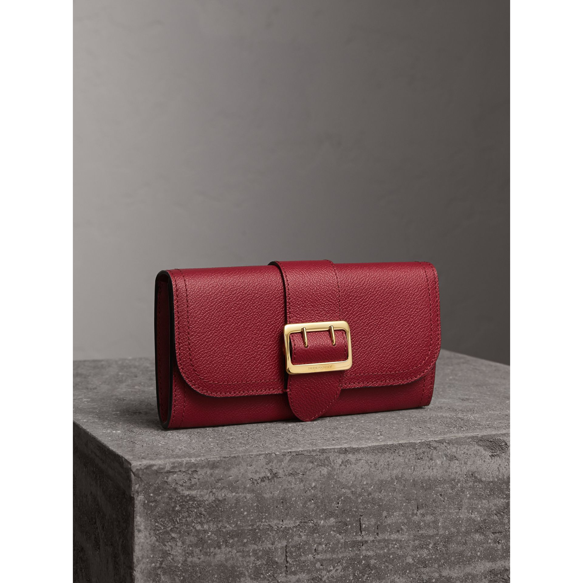 Textured Leather Continental Wallet in Parade Red - gallery image 1