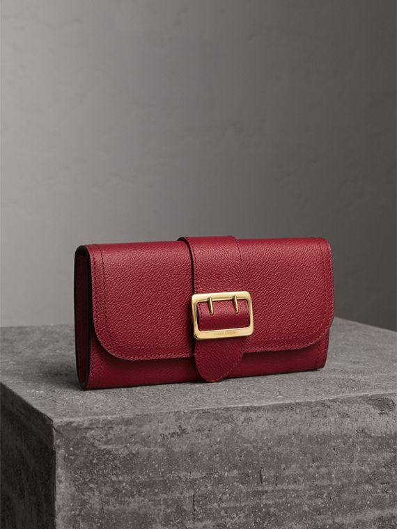 Textured Leather Continental Wallet in Parade Red